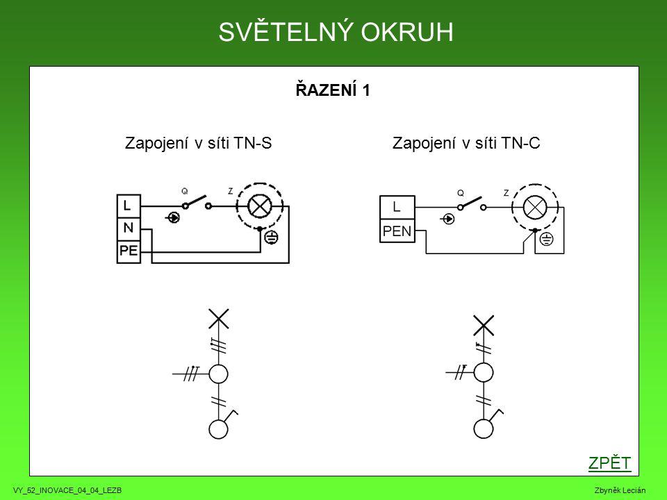VY_52_INOVACE_04_04_LEZB Zbyněk Lecián ŘAZENÍ 1 ZPĚT SVĚTELNÝ OKRUH Zapojení v síti TN-SZapojení v síti TN-C