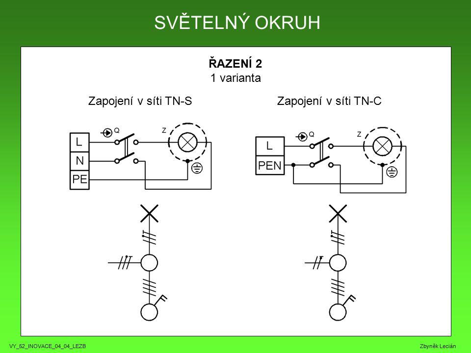 VY_52_INOVACE_04_04_LEZB Zbyněk Lecián ŘAZENÍ 2 1 varianta SVĚTELNÝ OKRUH Zapojení v síti TN-SZapojení v síti TN-C