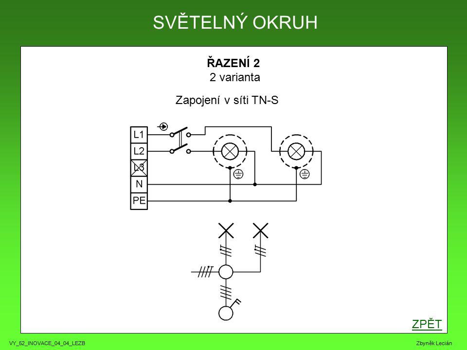 VY_52_INOVACE_04_04_LEZB Zbyněk Lecián ŘAZENÍ 2 2 varianta ZPĚT SVĚTELNÝ OKRUH Zapojení v síti TN-S