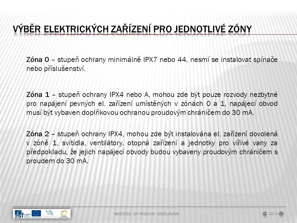 INVESTICE DO ROZVOJE VZDĚLÁVÁNÍ 10/14 Zóna 0 – stupeň ochrany minimálně IPX7 nebo 44, nesmí se instalovat spínače nebo příslušenství.