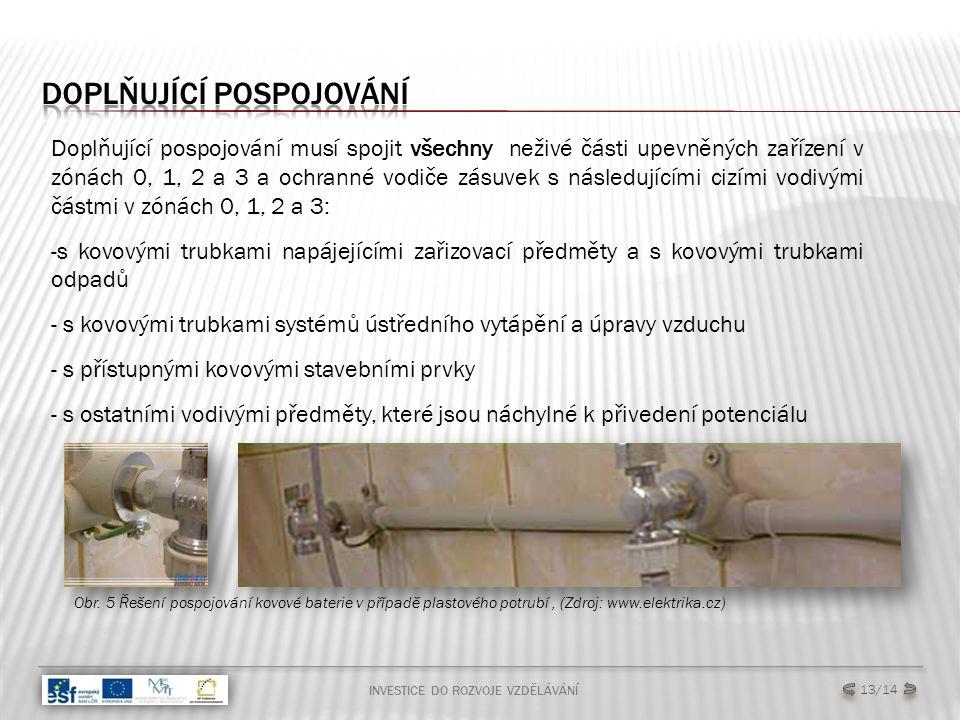 INVESTICE DO ROZVOJE VZDĚLÁVÁNÍ Doplňující pospojování musí spojit všechny neživé části upevněných zařízení v zónách 0, 1, 2 a 3 a ochranné vodiče zásuvek s následujícími cizími vodivými částmi v zónách 0, 1, 2 a 3: -s kovovými trubkami napájejícími zařizovací předměty a s kovovými trubkami odpadů - s kovovými trubkami systémů ústředního vytápění a úpravy vzduchu - s přístupnými kovovými stavebními prvky - s ostatními vodivými předměty, které jsou náchylné k přivedení potenciálu Obr.