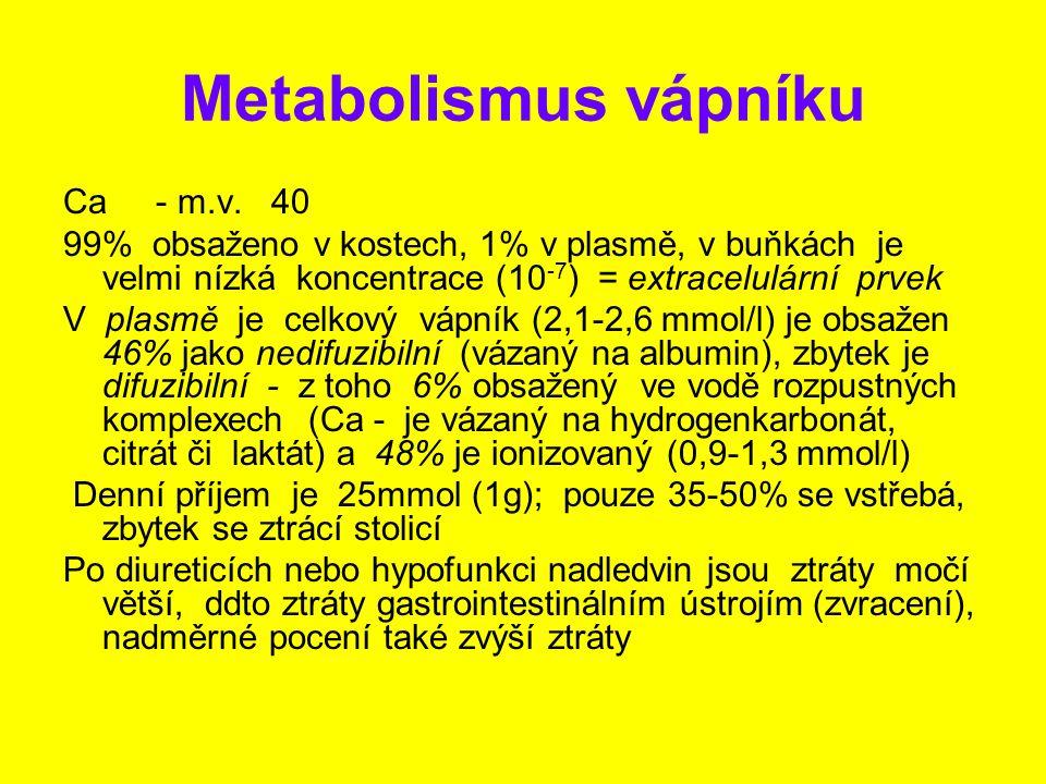 Metabolismus vápníku Ca - m.v. 40 99% obsaženo v kostech, 1% v plasmě, v buňkách je velmi nízká koncentrace (10 -7 ) = extracelulární prvek V plasmě j