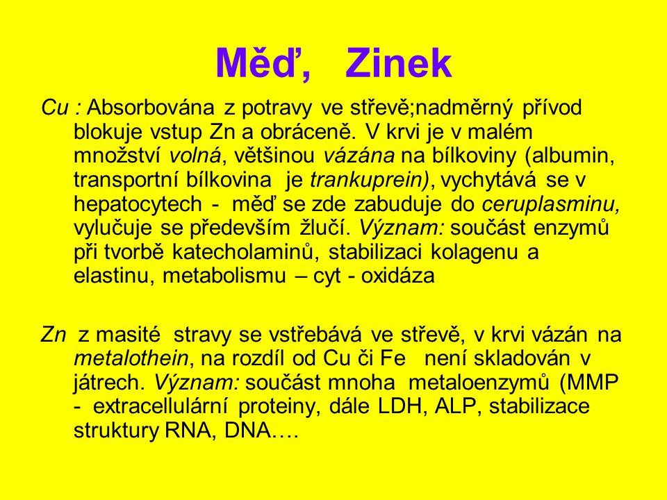 Měď, Zinek Cu : Absorbována z potravy ve střevě;nadměrný přívod blokuje vstup Zn a obráceně. V krvi je v malém množství volná, většinou vázána na bílk