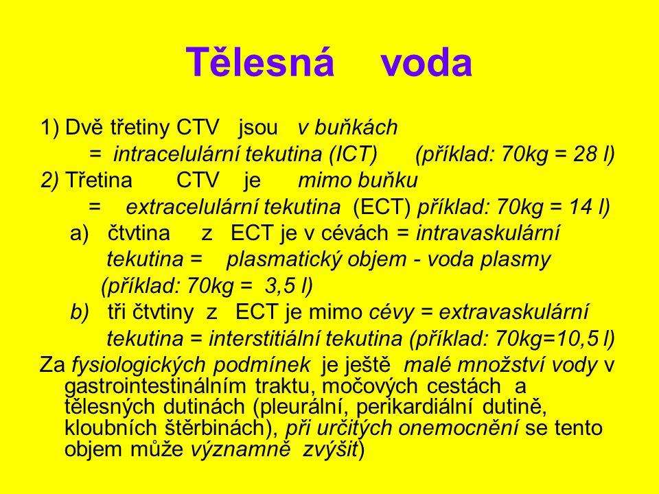 Tělesná voda 1) Dvě třetiny CTV jsou v buňkách = intracelulární tekutina (ICT) (příklad: 70kg = 28 l) 2) Třetina CTV je mimo buňku = extracelulární te