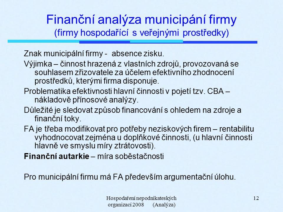 Hospodaření nepodnikateských organizací 2008 (Analýza) 12 Finanční analýza municipání firmy (firmy hospodařící s veřejnými prostředky) Znak municipální firmy - absence zisku.