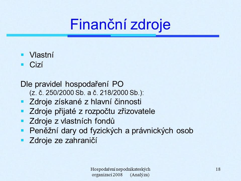 Hospodaření nepodnikateských organizací 2008 (Analýza) 18 Finanční zdroje  Vlastní  Cizí Dle pravidel hospodaření PO (z.