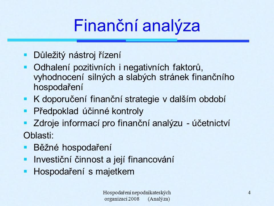 Hospodaření nepodnikateských organizací 2008 (Analýza) 5 Finanční analýza USC  Analýza druhů příjmů a výdajů, analýza trendů  Analýza salda běžného rozpočtu, faktorů  Analýza úspor, dosažitelnost, efektivnost  Financování oprav a údržby, efektivnost a hospodárnost  Vytváření a využívání rezerv  Analýza závazků, pohledávek z věcného i časového hlediska  Analýza majetku a způsobu jeho využívání  Analýza příjmových a výdajových toků