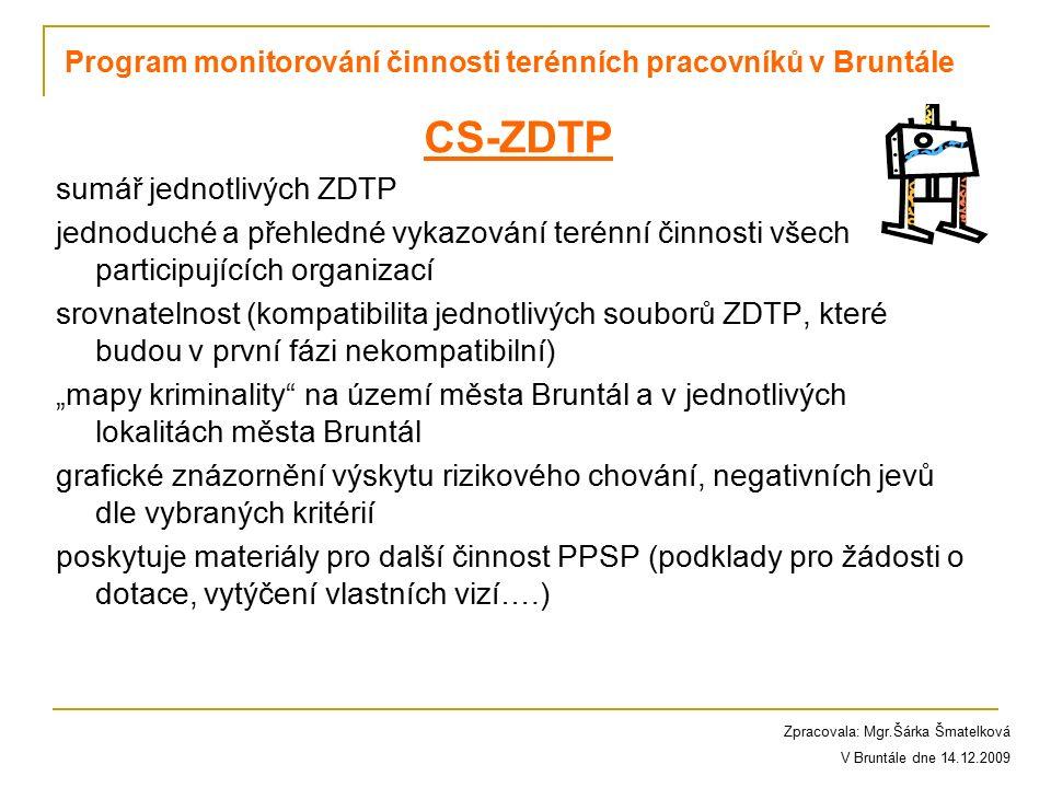 CS-ZDTP sumář jednotlivých ZDTP jednoduché a přehledné vykazování terénní činnosti všech participujících organizací srovnatelnost (kompatibilita jedno