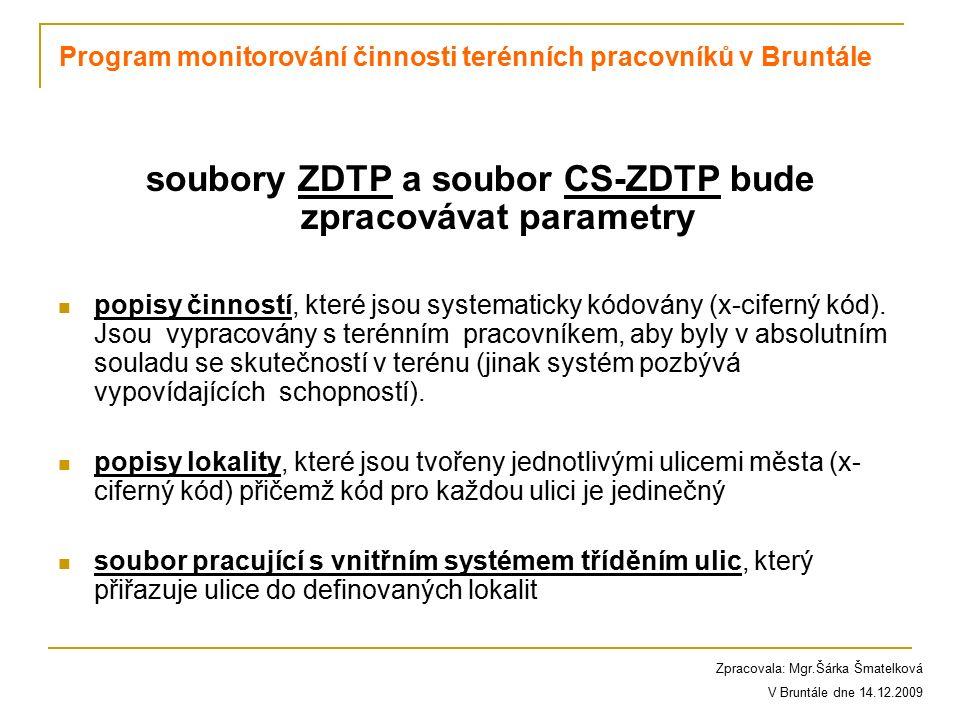 soubory ZDTP a soubor CS-ZDTP bude zpracovávat parametry popisy činností, které jsou systematicky kódovány (x-ciferný kód). Jsou vypracovány s terénní