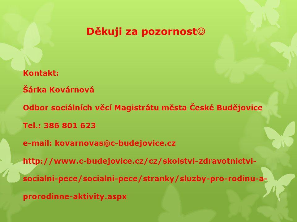 Děkuji za pozornost Kontakt: Šárka Kovárnová Odbor sociálních věcí Magistrátu města České Budějovice Tel.: 386 801 623 e-mail: kovarnovas@c-budejovice.cz http://www.c-budejovice.cz/cz/skolstvi-zdravotnictvi- socialni-pece/socialni-pece/stranky/sluzby-pro-rodinu-a- prorodinne-aktivity.aspx