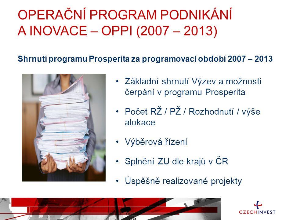 OPERAČNÍ PROGRAM PODNIKÁNÍ A INOVACE – OPPI (2007 – 2013) Úspěšně zrealizované projekty v programu PROSPERITA