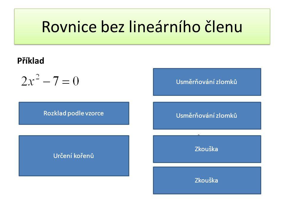 Rovnice bez lineárního členu Příklad Rozklad podle vzorce Určení kořenů Usměrňování zlomků Zkouška