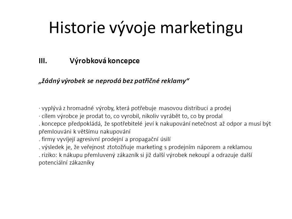 Historie vývoje marketingu IV.