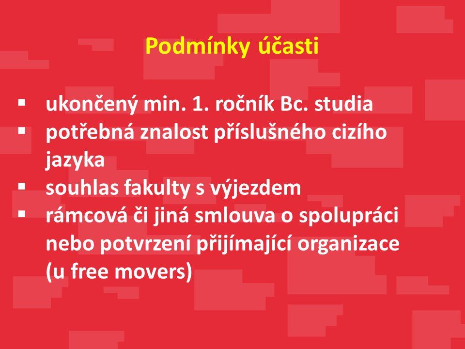 ukončený min. 1. ročník Bc. studia  potřebná znalost příslušného cizího jazyka  souhlas fakulty s výjezdem  rámcová či jiná smlouva o spolupráci