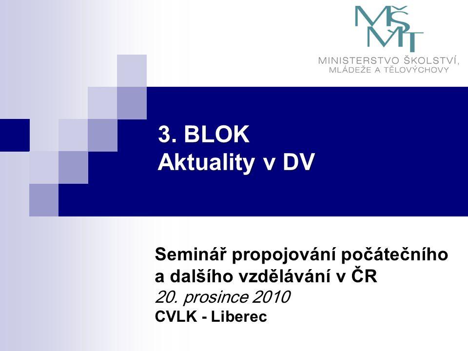 3. BLOK Aktuality v DV Seminář propojování počátečního a dalšího vzdělávání v ČR 20. prosince 2010 CVLK - Liberec