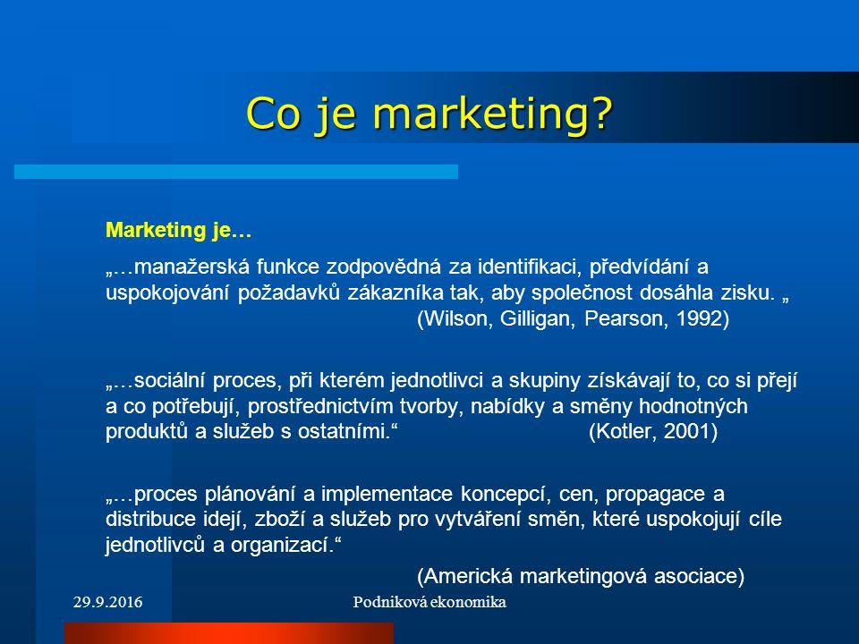 29.9.2016Podniková ekonomika Co je marketing.Marketing je práce s trhem.