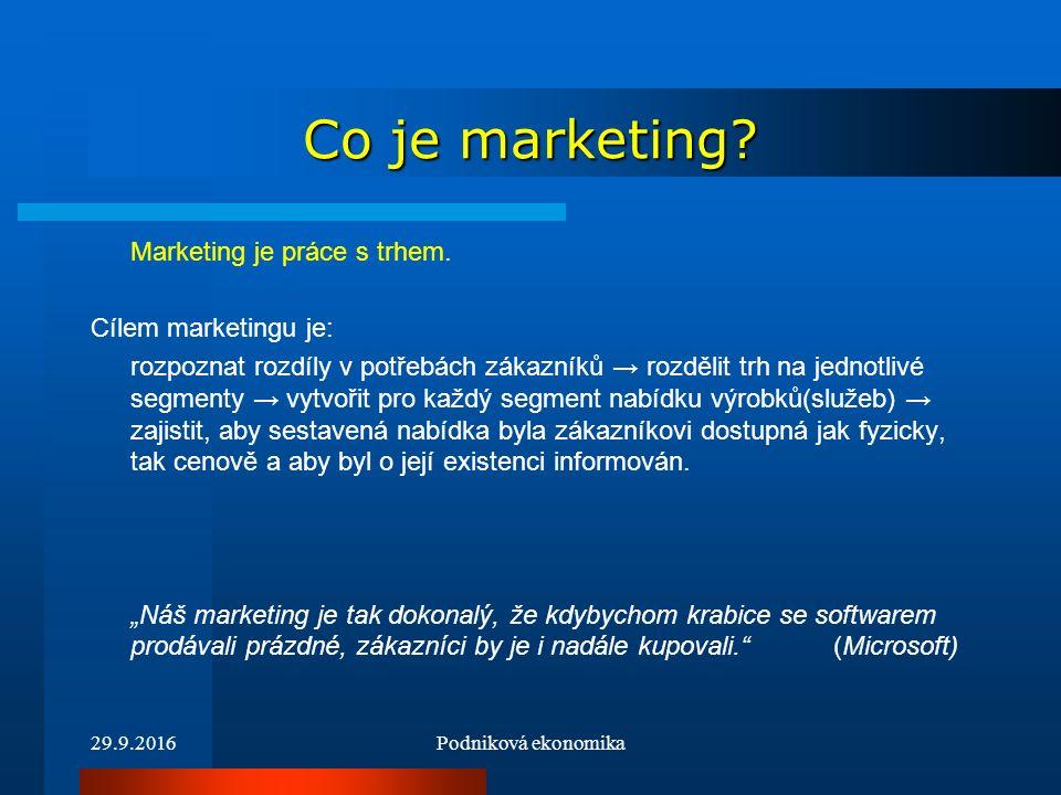 29.9.2016Podniková ekonomika Struktura marketingového řízení Situační analýza Cíl a strategie Marketingový mix Kontrola