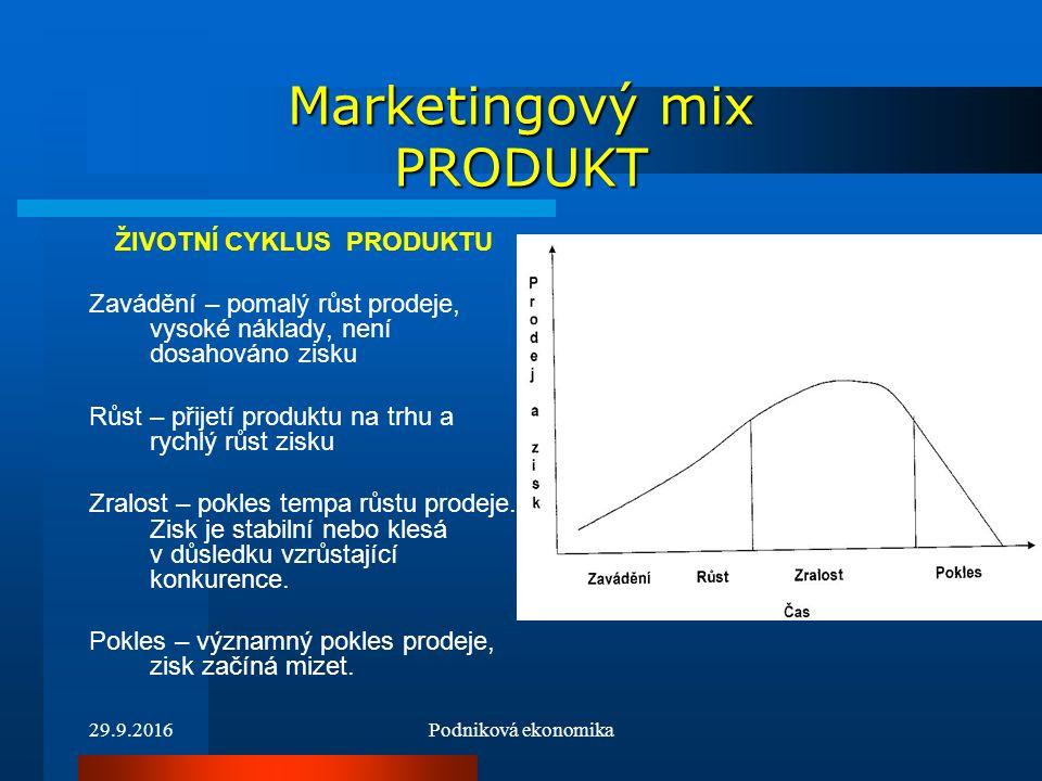 29.9.2016Podniková ekonomika Marketingový mix PRODUKT Výrobkový mix – (sortiment výrobků) - soubor všech produktů a položek, které konkrétní prodejce nabízí k prodeji svým zákazníkům.