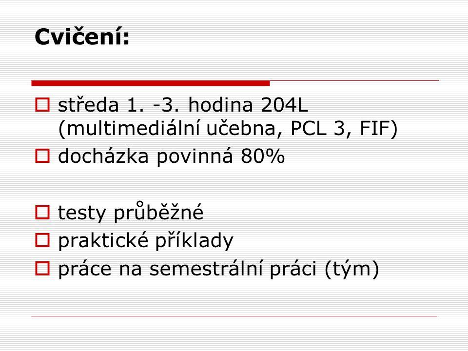 Cvičení:  středa 1. -3. hodina 204L (multimediální učebna, PCL 3, FIF)  docházka povinná 80%  testy průběžné  praktické příklady  práce na semest