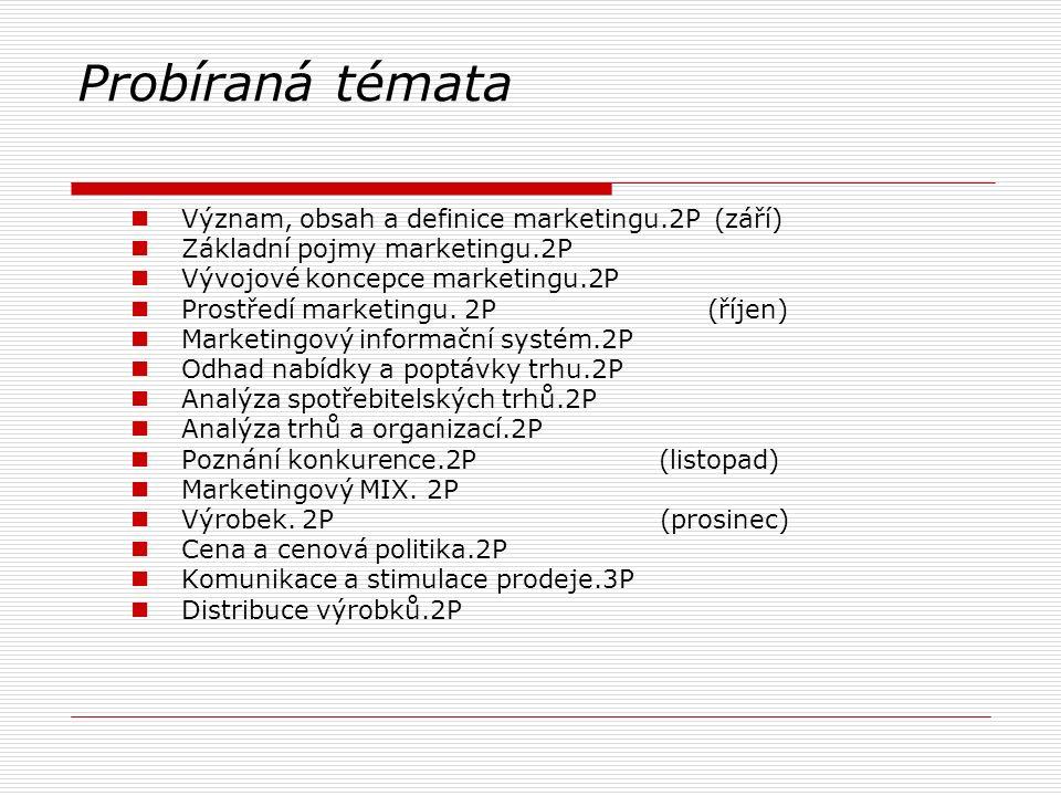 Probíraná témata Význam, obsah a definice marketingu.2P (září) Základní pojmy marketingu.2P Vývojové koncepce marketingu.2P Prostředí marketingu. 2P (