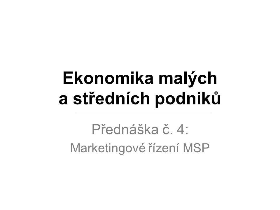 Ekonomika malých a středních podniků Přednáška č. 4: Marketingové řízení MSP