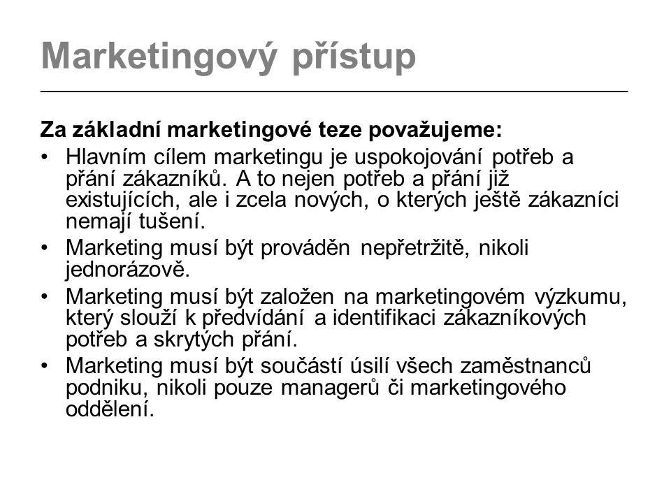 Marketingový přístup _________________________________________________________________________________ Za základní marketingové teze považujeme: Hlavním cílem marketingu je uspokojování potřeb a přání zákazníků.