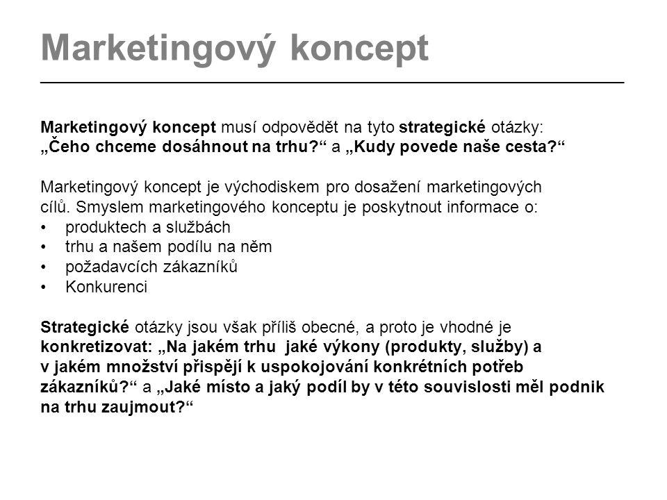 """Marketingový koncept _________________________________________________________________________________ Marketingový koncept musí odpovědět na tyto strategické otázky: """"Čeho chceme dosáhnout na trhu a """"Kudy povede naše cesta Marketingový koncept je východiskem pro dosažení marketingových cílů."""