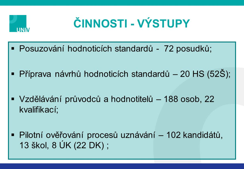 ČINNOSTI - VÝSTUPY  Posuzování hodnoticích standardů - 72 posudků;  Příprava návrhů hodnoticích standardů – 20 HS (52Š);  Vzdělávání průvodců a hodnotitelů – 188 osob, 22 kvalifikací;  Pilotní ověřování procesů uznávání – 102 kandidátů, 13 škol, 8 ÚK (22 DK) ;