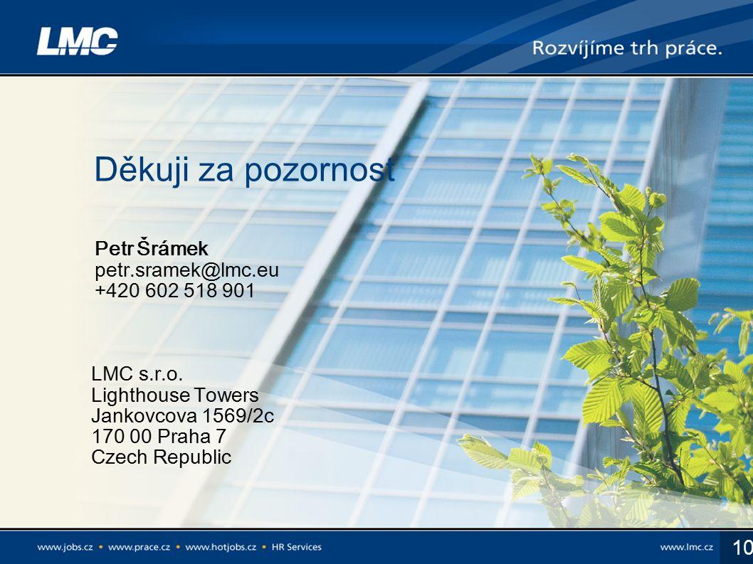 10 Děkuji za pozornost LMC s.r.o. Lighthouse Towers Jankovcova 1569/2c 170 00 Praha 7 Czech Republic Petr Šrámek petr.sramek@lmc.eu +420 602 518 901
