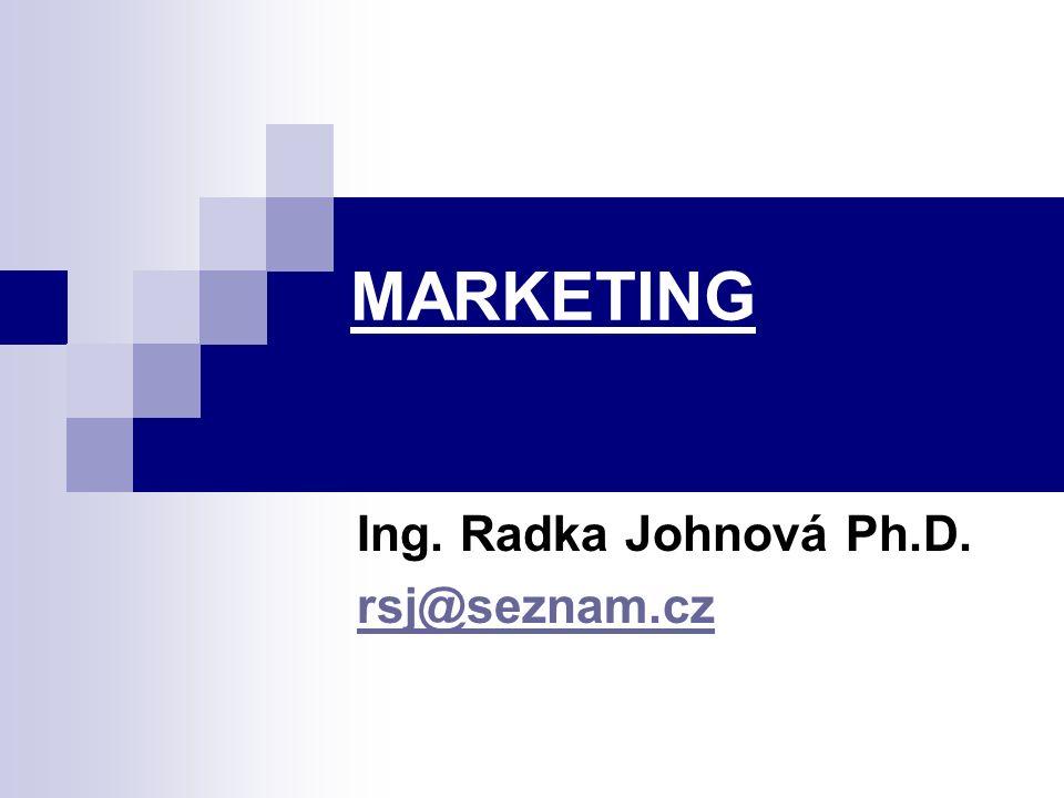 MARKETING Ing. Radka Johnová Ph.D. rsj@seznam.cz