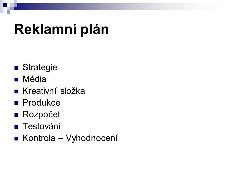 Reklamní plán Strategie Média Kreativní složka Produkce Rozpočet Testování Kontrola – Vyhodnocení