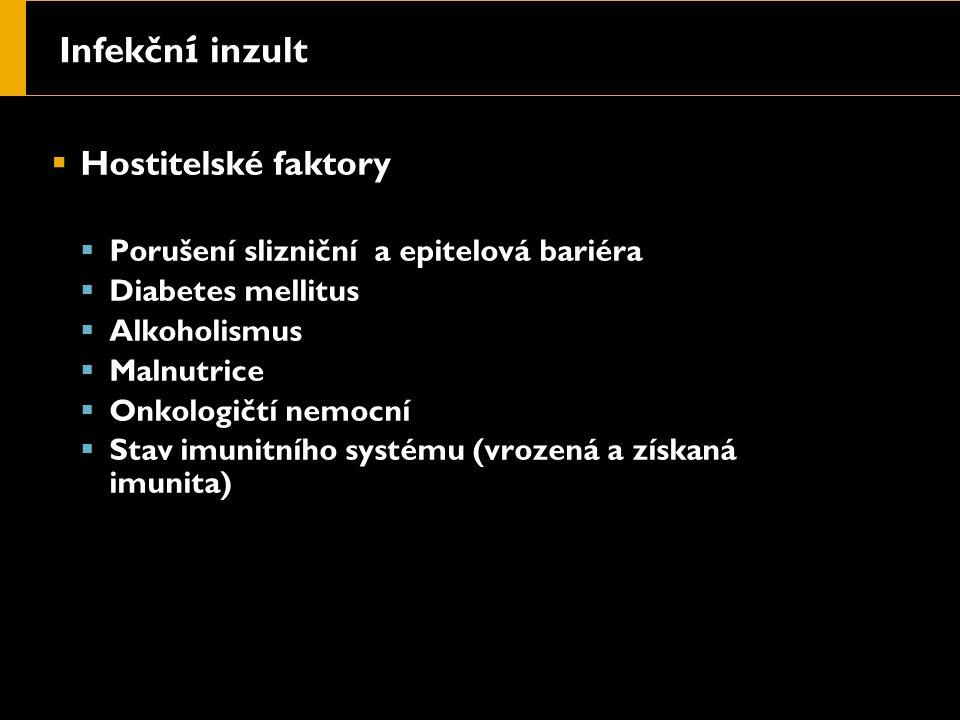 Infekčn í inzult  Hostitelské faktory  Porušení slizniční a epitelová bariéra  Diabetes mellitus  Alkoholismus  Malnutrice  Onkologičtí nemocní  Stav imunitního systému (vrozená a získaná imunita)