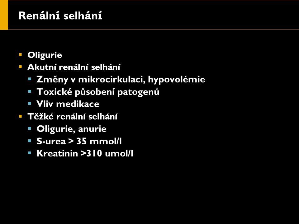 Ren á ln í selh á n í  Oligurie  Akutní renální selhání  Změny v mikrocirkulaci, hypovolémie  Toxické působení patogenů  Vliv medikace  Těžké renální selhání  Oligurie, anurie  S-urea > 35 mmol/l  Kreatinin >310 umol/l