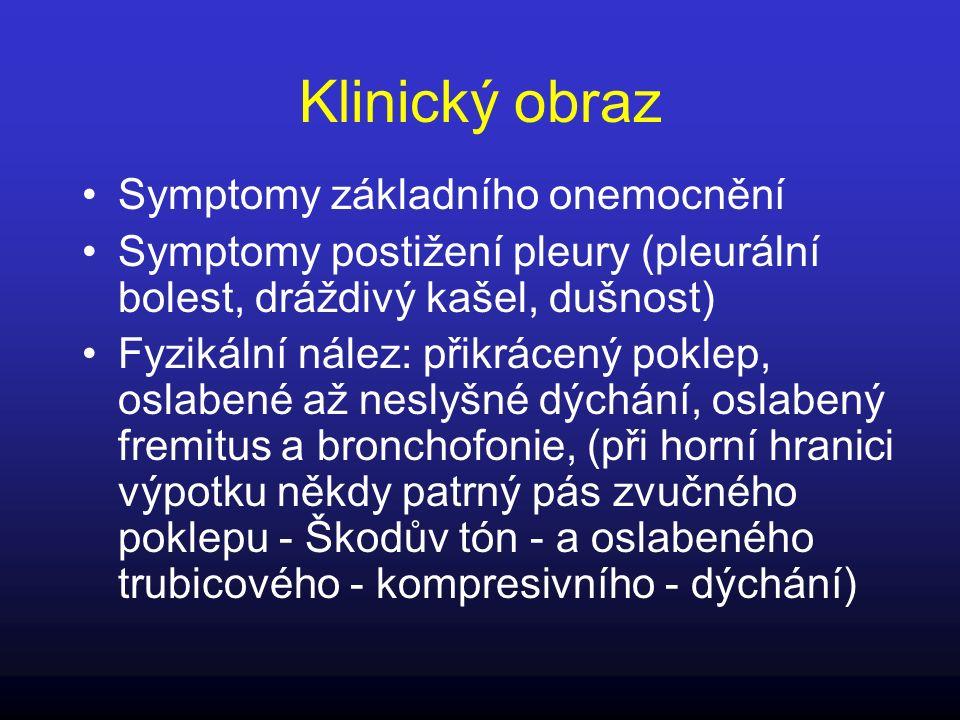 Klinický obraz Symptomy základního onemocnění Symptomy postižení pleury (pleurální bolest, dráždivý kašel, dušnost) Fyzikální nález: přikrácený poklep