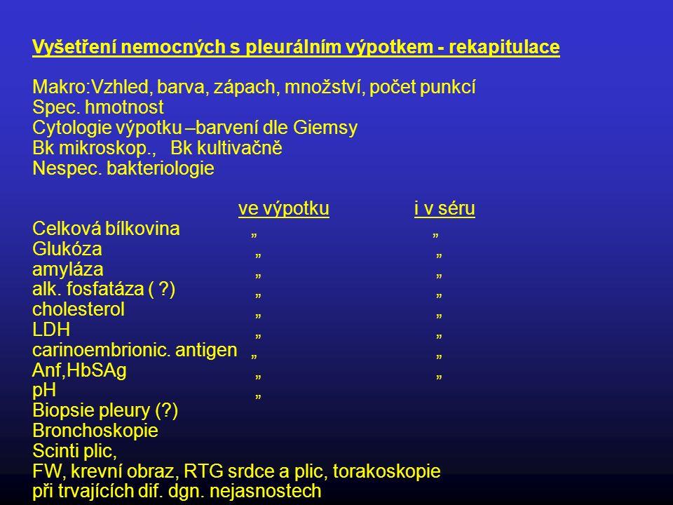 Vyšetření nemocných s pleurálním výpotkem - rekapitulace Makro:Vzhled, barva, zápach, množství, počet punkcí Spec. hmotnost Cytologie výpotku –barvení