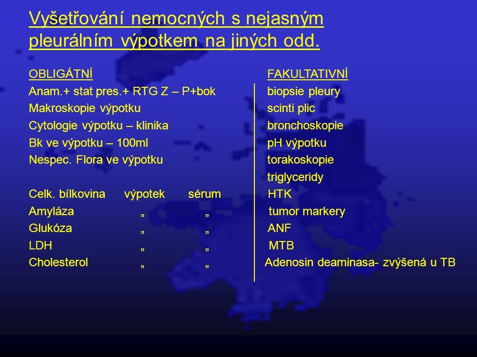 Vyšetřování nemocných s nejasným pleurálním výpotkem na jiných odd. OBLIGÁTNÍFAKULTATIVNÍ Anam.+ stat pres.+ RTG Z – P+bokbiopsie pleury Makroskopie v