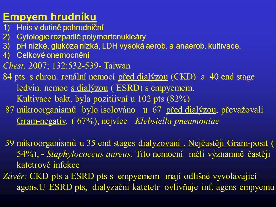Empyem hrudníku 1)Hnis v dutině pohrudniční 2)Cytologie rozpadlé polymorfonukleáry 3)pH nízké, glukóza nízká, LDH vysoká aerob. a anaerob. kultivace.