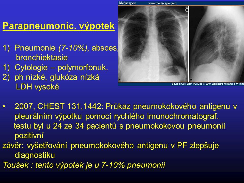 Parapneumonic. výpotek 1)Pneumonie (7-10%), absces, bronchiektasie 1)Cytologie – polymorfonuk. 2)ph nízké, glukóza nízká LDH vysoké 2007, CHEST 131,14