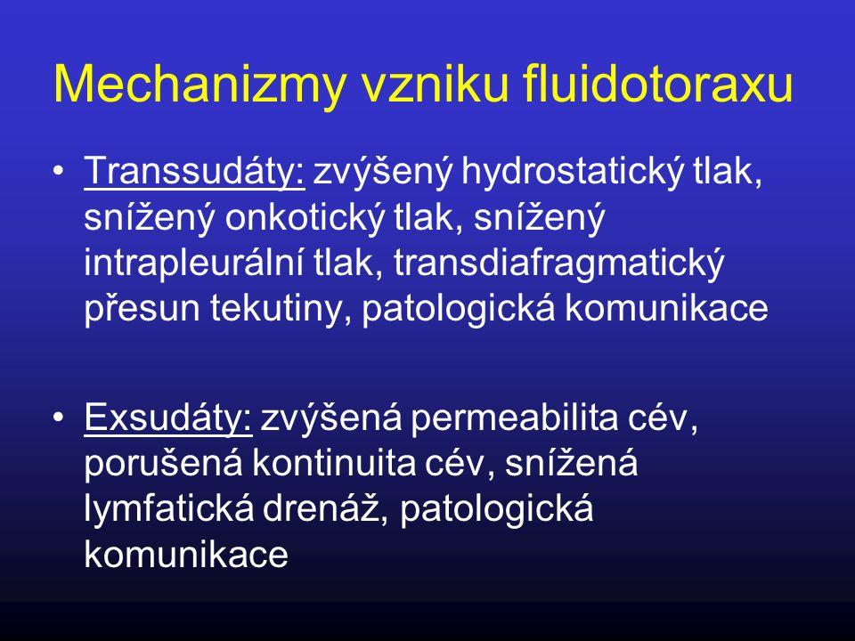 Exsudáty - chylotorax Mléčně zkalený výpotek, Triglyceridy (TAG) > 1,24 mmol/l nebo přítomností chylomikronů (elfo lipoproteinů vyšetřit u TAG 0,55 – 1,24 mmol/l) Zkalení nemusí být makroskopicky patrné, vyšetřit TAG u všech nejasných výpotků (transsudátů i exsudátů; CB 20- 60 g/l) Chylotorax 5x častěji pravostranný, přes dct.