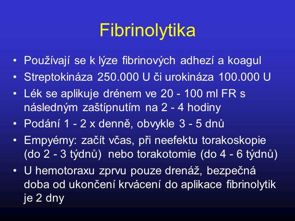 Fibrinolytika Používají se k lýze fibrinových adhezí a koagul Streptokináza 250.000 U či urokináza 100.000 U Lék se aplikuje drénem ve 20 - 100 ml FR