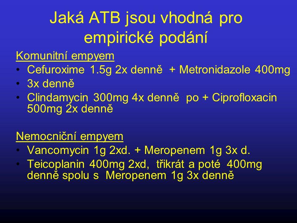 Jaká ATB jsou vhodná pro empirické podání Komunitní empyem Cefuroxime 1.5g 2x denně + Metronidazole 400mg 3x denně Clindamycin 300mg 4x denně po + Cip