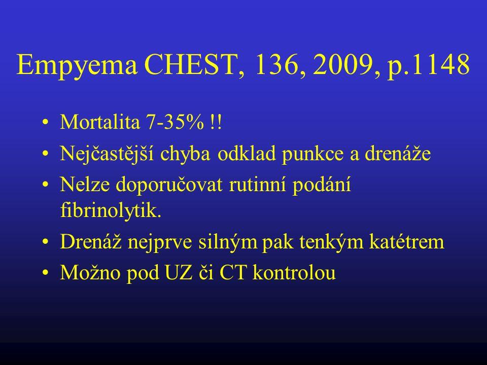 Empyema CHEST, 136, 2009, p.1148 Mortalita 7-35% !! Nejčastější chyba odklad punkce a drenáže Nelze doporučovat rutinní podání fibrinolytik. Drenáž ne