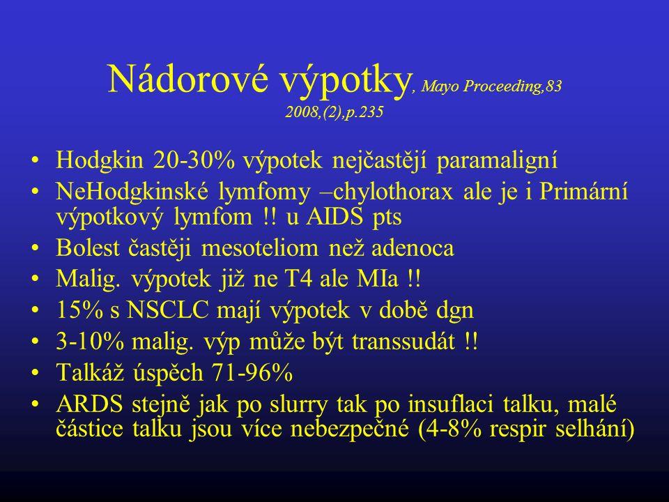 Nádorové výpotky, Mayo Proceeding,83 2008,(2),p.235 Hodgkin 20-30% výpotek nejčastějí paramaligní NeHodgkinské lymfomy –chylothorax ale je i Primární