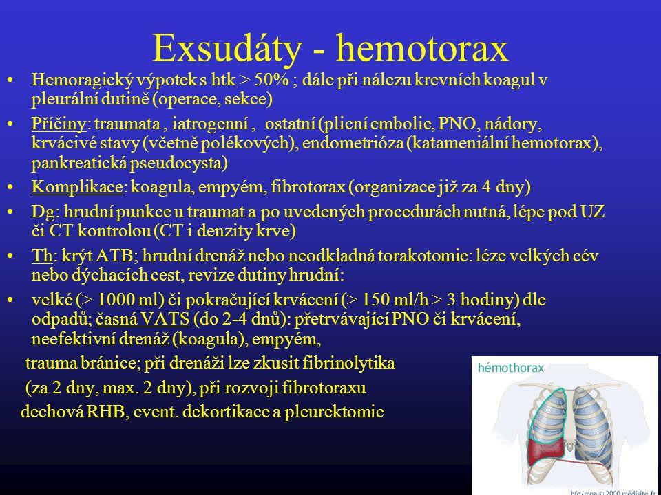 Exsudáty - hemotorax Hemoragický výpotek s htk > 50% ; dále při nálezu krevních koagul v pleurální dutině (operace, sekce) Příčiny: traumata, iatrogen