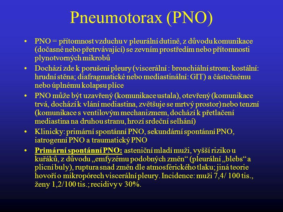 Pneumotorax (PNO) PNO = přítomnost vzduchu v pleurální dutině, z důvodu komunikace (dočasné nebo přetrvávající) se zevním prostředím nebo přítomnosti