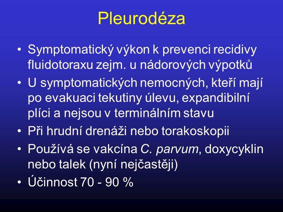 Pleurodéza Symptomatický výkon k prevenci recidivy fluidotoraxu zejm. u nádorových výpotků U symptomatických nemocných, kteří mají po evakuaci tekutin