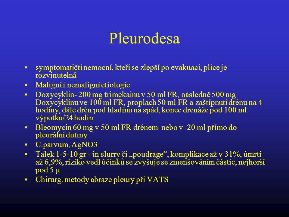 Pleurodesa symptomatičtí nemocní, kteří se zlepší po evakuaci, plíce je rozvinutelná Maligní i nemaligní etiologie Doxycyklin- 200 mg trimekainu v 50