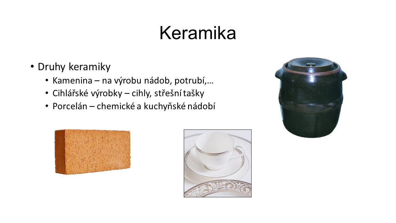 Keramika Druhy keramiky Kamenina – na výrobu nádob, potrubí,… Cihlářské výrobky – cihly, střešní tašky Porcelán – chemické a kuchyňské nádobí