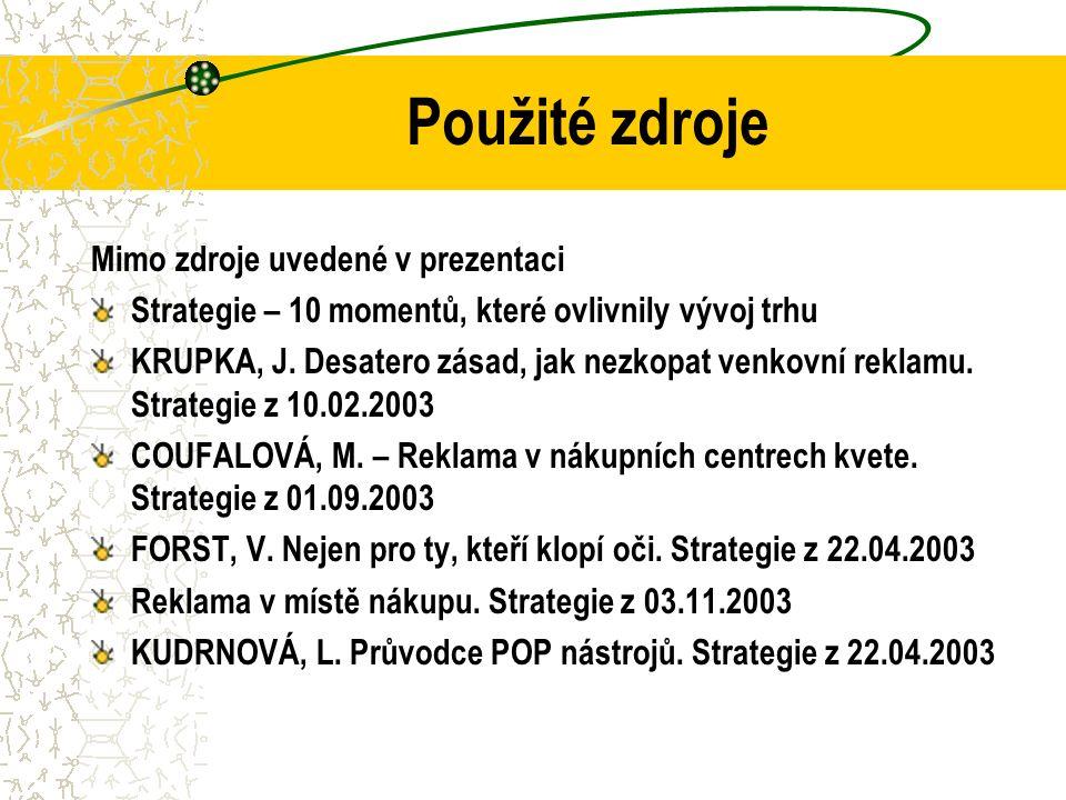 Použité zdroje Mimo zdroje uvedené v prezentaci Strategie – 10 momentů, které ovlivnily vývoj trhu KRUPKA, J. Desatero zásad, jak nezkopat venkovní re