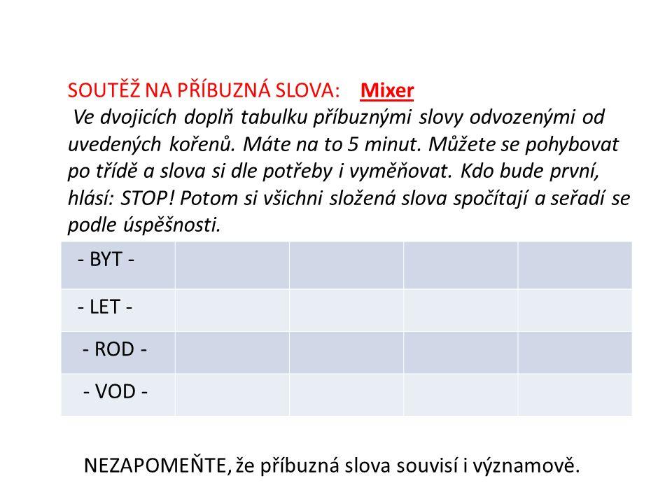 SOUTĚŽ NA PŘÍBUZNÁ SLOVA: Mixer Ve dvojicích doplň tabulku příbuznými slovy odvozenými od uvedených kořenů.